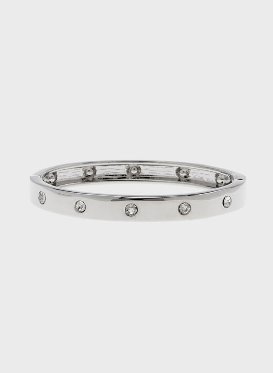 Crystal Encrusted Hinge Bangle, Silver, hi-res