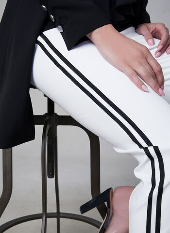 Contrast Trim Pull-On Pants, White, hi-res,  slim leg, bengaline, spring 2019