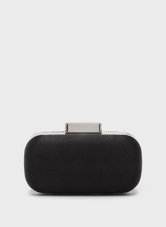 Hexagon Velvet Clutch , Black, hi-res