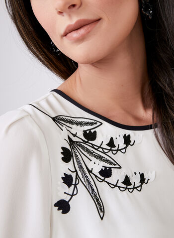Embroidered Long Sleeve Blouse, Off White, hi-res