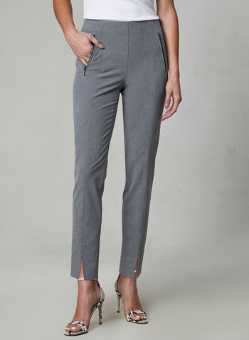 Amber Fit Slim Leg Pants, Grey, hi-res,