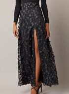 BA Nites - Long Sleeve Floral Skirt Dress, Black