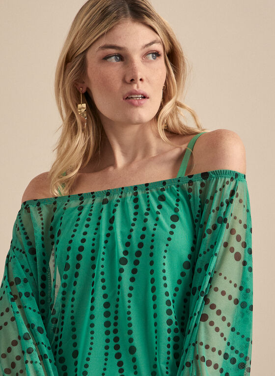 Mesh Off-the-Shoulder Top, Green