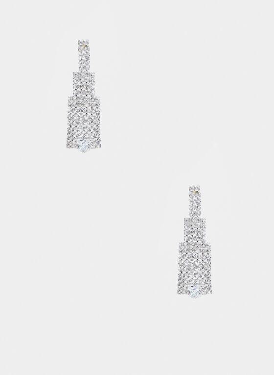 Boucles d'oreilles étagées avec cristaux, Argent