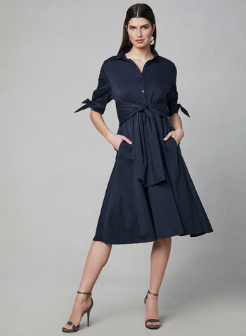 Poplin Shirt Dress, Blue,  Spring 2019, midi dress, fit & flare, 3/4 sleeves