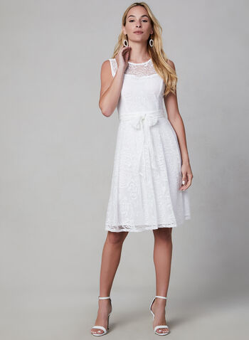 Sandra Darren - Fit & Flare Dress, Off White, hi-res