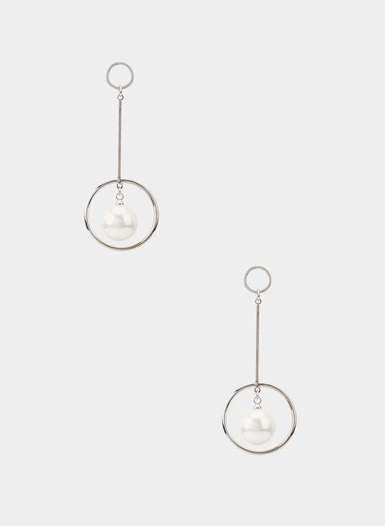 Boucles d'oreilles à pendant anneau et perle, Blanc cassé