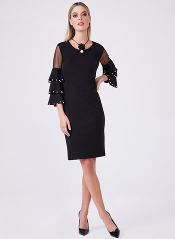 Frank Lyman - Ruffle Bell Sleeve Dress, Black, hi-res