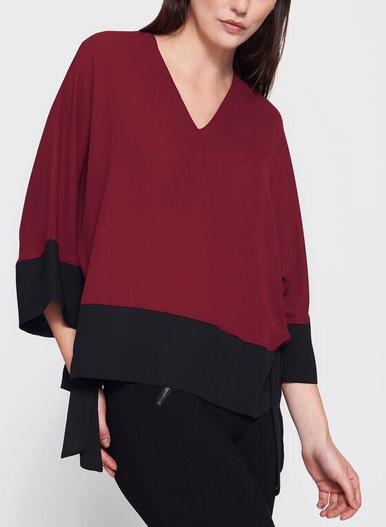 Blouse kimono manches ¾ et liens à nouer, Rouge, hi-res