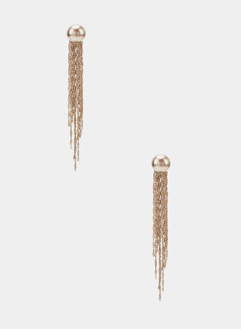Metallic Fringe Dangle Earrings, Gold, hi-res