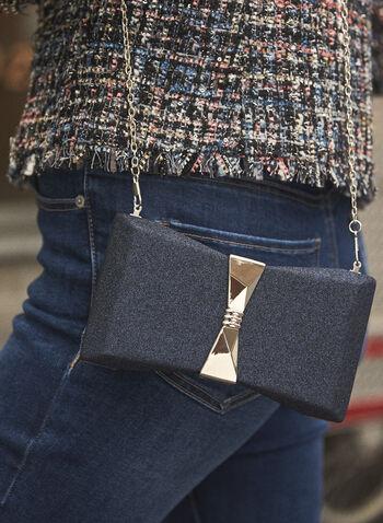 Metallic Detail Glitter Box Clutch, Blue,  fall winter 2021, made in Canada, accessories, handbags, purse, clutch, evening clutch, glitter, shimmer, box clutch, metallic detail, bow, removable chain, chain, sparkle, sparkling, textile