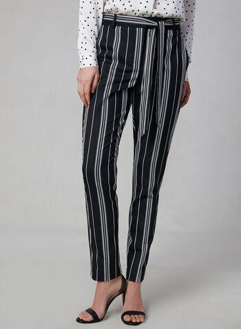 Vince Camuto - Stripe Print Straight Leg Pants, Black, hi-res