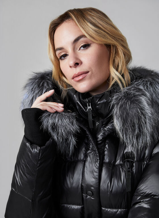 Sicily - Fur Trim Quilted Coat, Black, hi-res