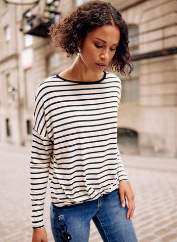 Stud Detail Striped Tee, White,  fall winter 2021, top, tee, t-shirt, shirt, striped, stripe print, stud detail, studded, crystal detail, rhinestone, embellished, pintuck, boat neck, long sleeve
