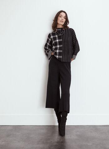 Pantalons en tricot à jambe large, Noir,  automne 2021, pantalons, jambe large, modèle à enfiler, pull-on, taille haute, élastique, côtelé, ourlet évasé, matière, tricot, confortable