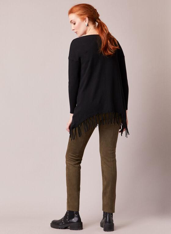 Fringe Hemline Tunic Sweater, Black