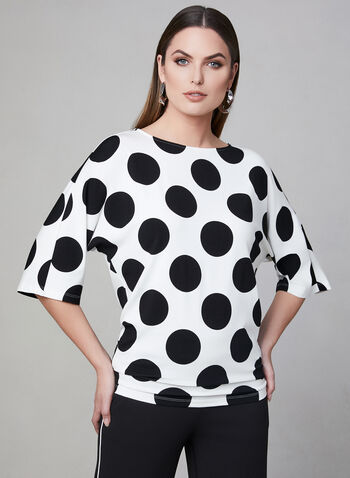 Polka Dot Print Top, White, hi-res