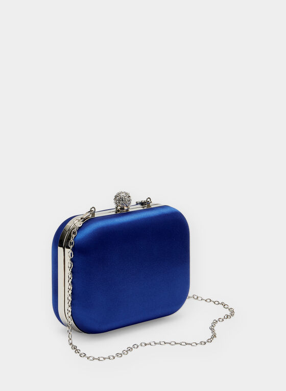 Satin Box Clutch, Blue, hi-res