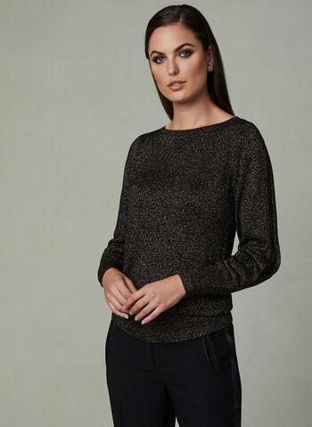 Glitter Knit Sweater, Black,