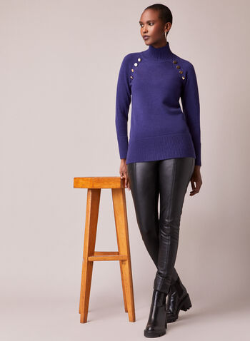 Button Detail Mock Neck Sweater, Blue,  fall winter 2020, mock neck, long sleeve, ribbed, ribbing, sweater, warm, comfort, stretch, button detail, turtleneck, tunic