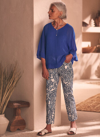 Paisley Print Pull-On Capris, White,  pants, capris, paisley, button details, pull-on, bengaline, spring summer 2021