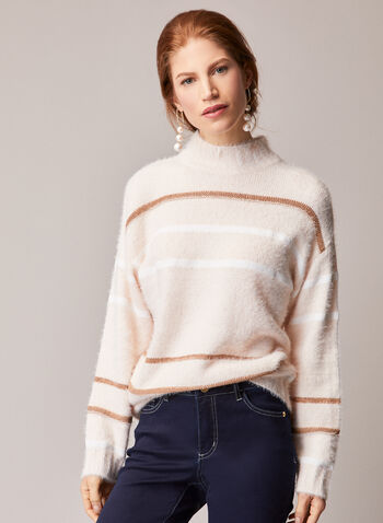 Elena Wang - Striped Mock Neck Sweater, Red,  fall winter 2020, sweaters, warm, fuzzy, cozy, comfy, long sleeves. round neck, crew neck, holiday, holiday 2020, gift
