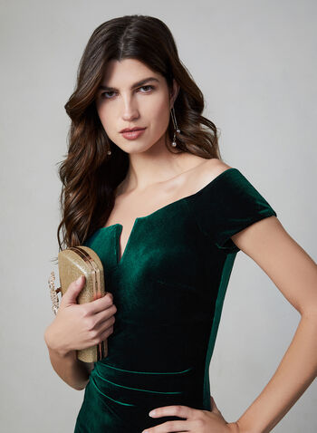 BA Nites - Off-the-Shoulder Velvet Dress , Green, hi-res,  evening gown, velvet, off-the-shoulder, slit, v-shape slit, fall 2019, winter 2019