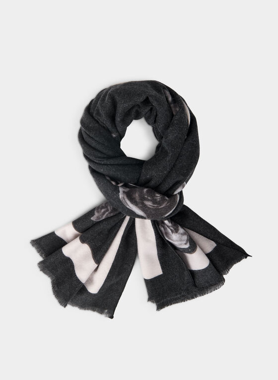 Rose Print Scarf, Black