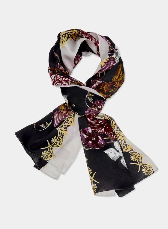 Floral Print Silk Scarf, Black, hi-res