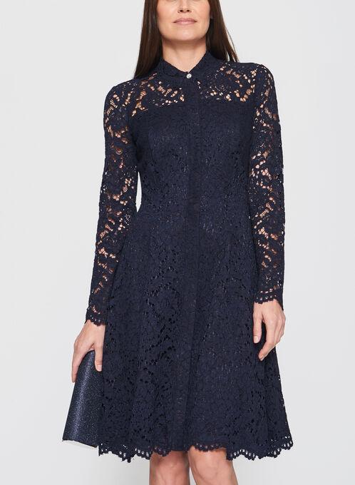 Maggy London - Cotton Lace Button Down Dress, Blue, hi-res