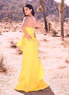 Adrianna Papell - Strapless Mermaid Dress, Yellow, hi-res