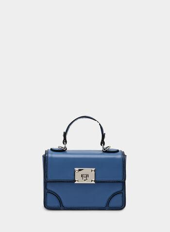 Sac cartable à fermoir métallisé, Bleu, hi-res,  sac, cartable, fermoir métallisé, bandoulière, ganse, automne hiver 2019