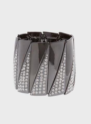 Bracelet élastiqué en biais avec cristaux, Gris, hi-res