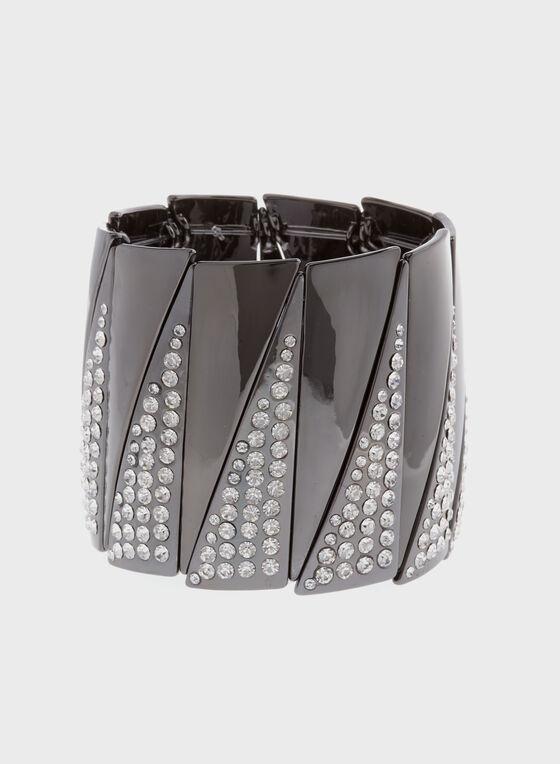 Crystal Stretch Bracelet , Grey, hi-res