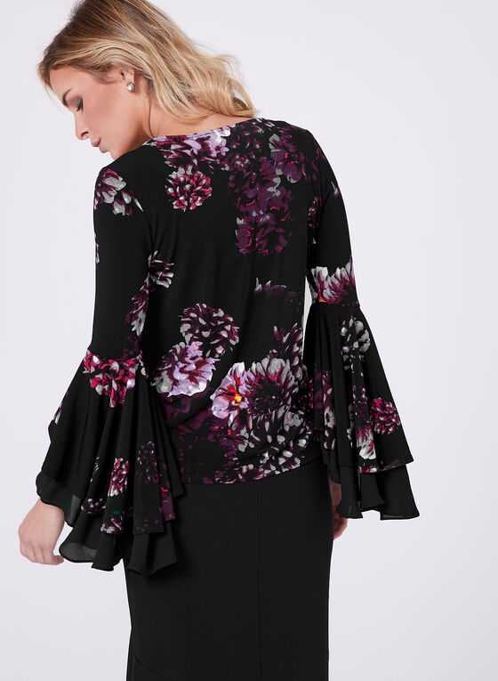 Ruffle Bell Sleeve Top, Purple, hi-res