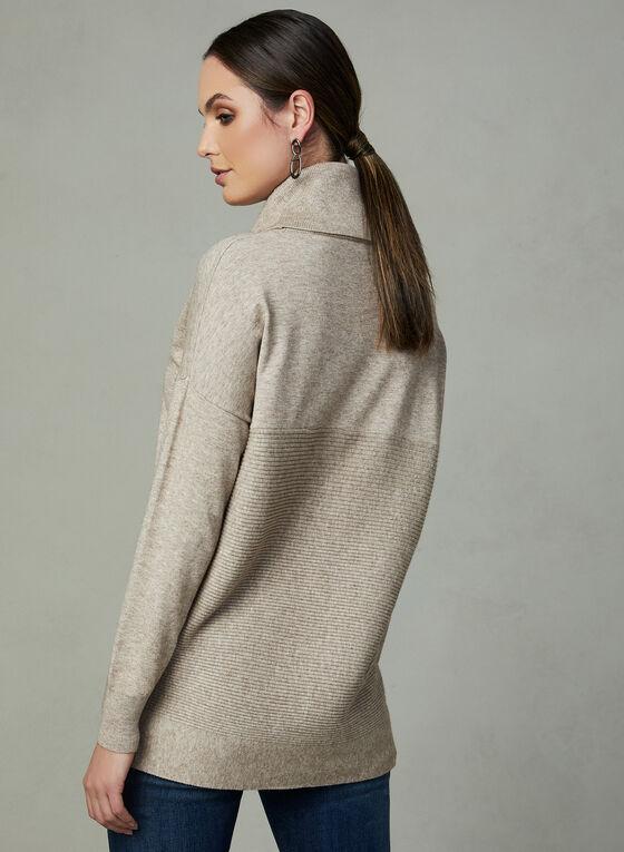 Pull à col roulé et tricot texturé, Blanc cassé