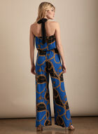 Chain Motif Halter Neck Jumpsuit, Blue