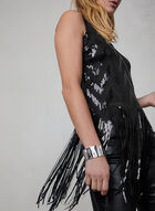Fringed Sequin Top, Black