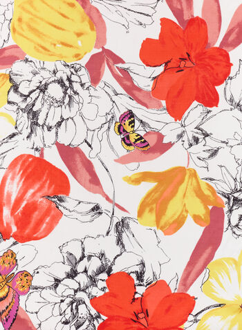 Vince Camuto - Flower & Butterfly Print Scarf, White, hi-res