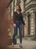 Chain Belt Slim Leg Jeans, Blue
