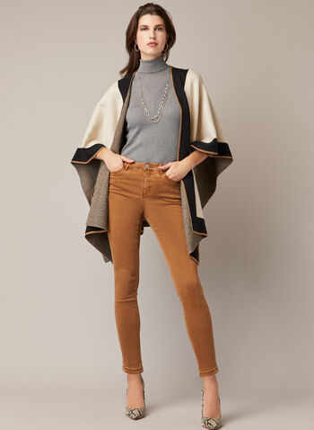 Colour Block Shawl, Brown,  shawl, colour block, contrast, fall winter 2020