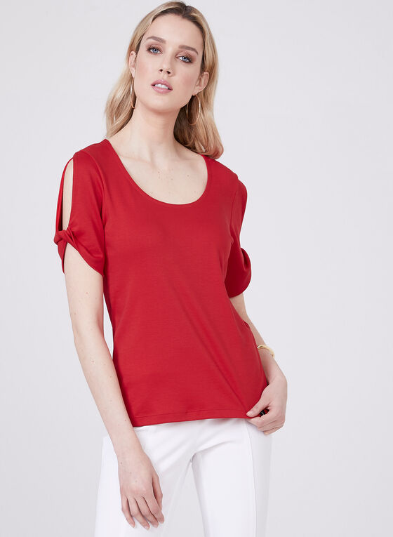 Pima Cotton Top With Cut Out Shoulders, Red, hi-res