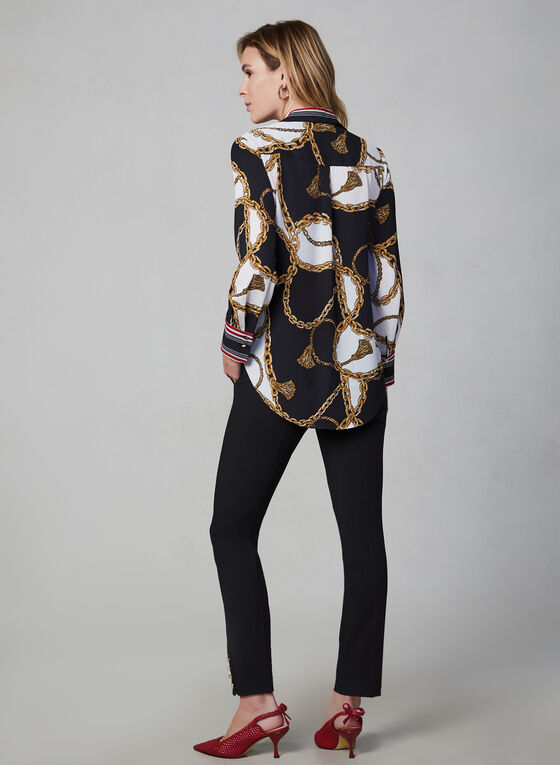 Chain Print Blouse, Black