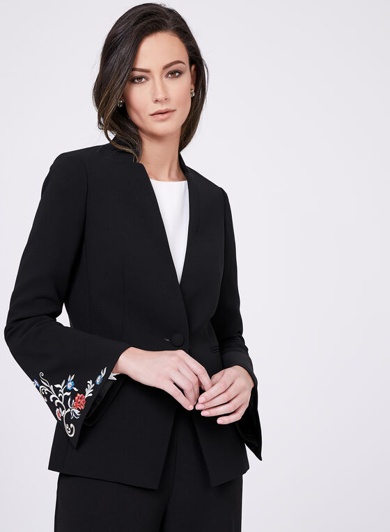 Tahari - Embroidered One-Button Blazer, Black, hi-res