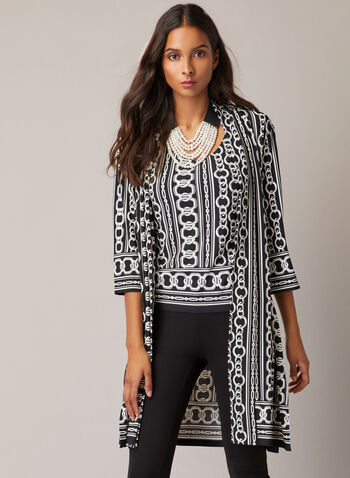 Joseph Ribkoff - Chain Print Top & Cardigan, Black,  top, cardigan, set, chain print, jersey, fall winter 2020