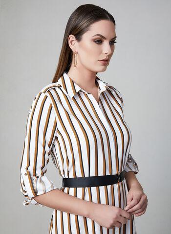 Stripe Print Shirt Dress, Yellow, hi-res