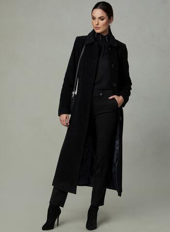 Anne Klein - Long Cashmere Blend Coat, Black, hi-res