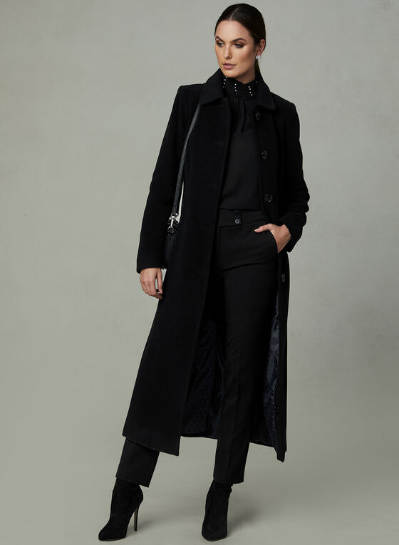 Anne Klein - Long Cashmere Blend Coat, Black, hi-res