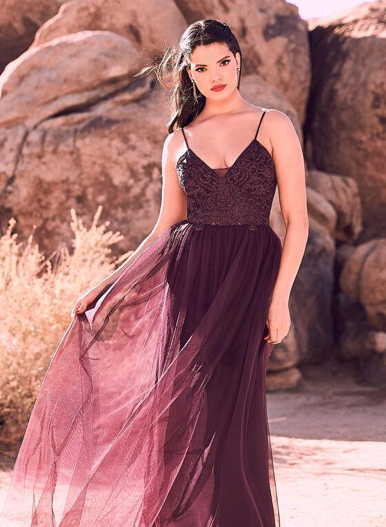 Blondie Nites - Sleeveless Illusion Dress, Purple