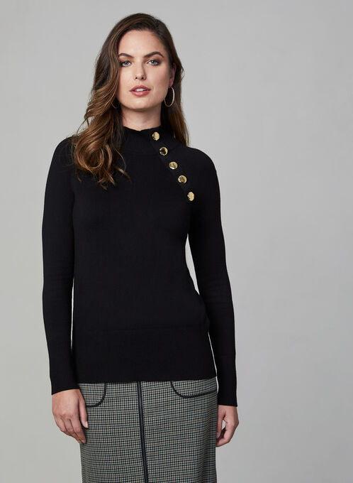 Button Detail Turtleneck Sweater, Black, hi-res